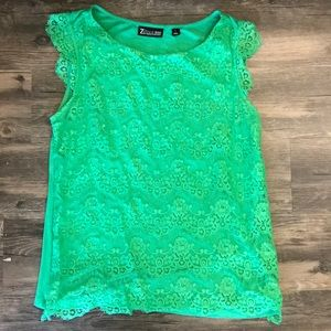 New York and company green lace blouse